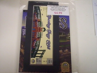 Colorado Rockies 1995 Opening Day Ticket & Program Lot