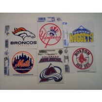 Asst. NFL, MLB, NHL, NBA, & College Logo Decals (5x4-12x12)