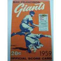 1959 SAN FRANCISCO GIANTS SCORECARD